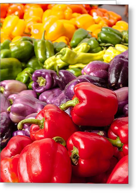 Rainbow Of Peppers Greeting Card by Teri Virbickis
