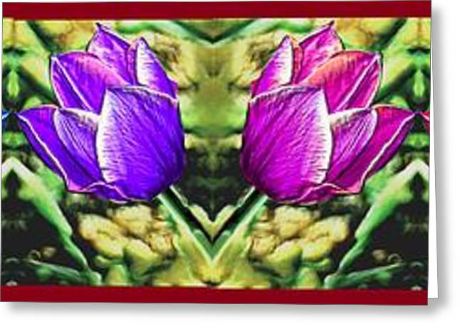 Abstract Digital Paintings Greeting Cards - Rainbow of Tulips Greeting Card by Bruce Nutting
