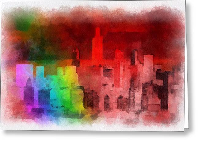 Green Beans Mixed Media Greeting Cards - Rainbow On Chicago Greeting Card by Thomas Woolworth