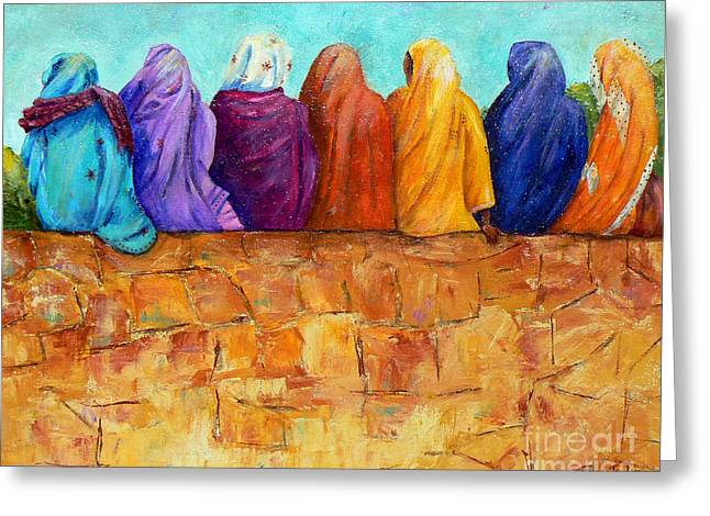 Burkas Greeting Cards - Rainbow on the Wall Greeting Card by Terry Taylor