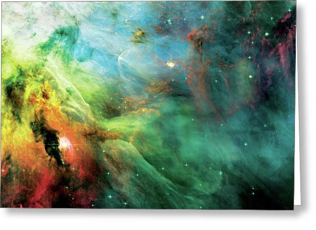Nasa Greeting Cards - Rainbow Orion Nebula Greeting Card by The  Vault - Jennifer Rondinelli Reilly