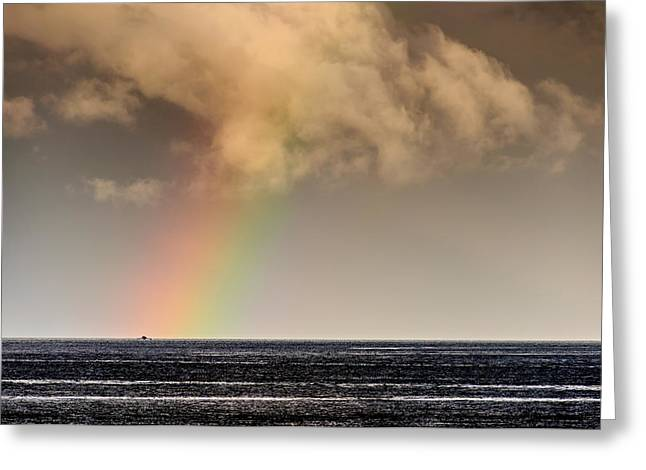 Lonesomeness Greeting Cards - Rainbow Over A Black Ocean Greeting Card by Colin Utz