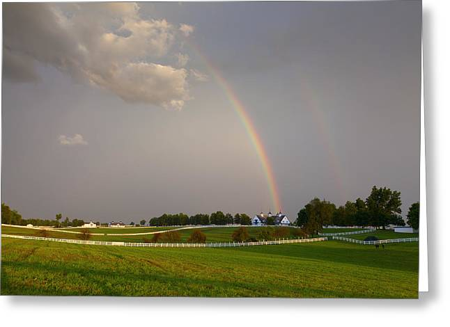 Double Rainbow Greeting Cards - Rainbow over a horse farm  Greeting Card by Alexey Stiop