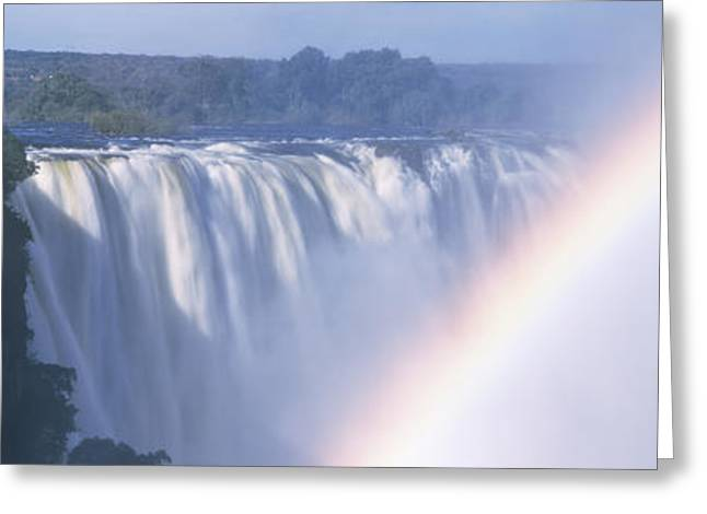Zimbabwe Photographs Greeting Cards - Rainbow Over A Waterfall, Victoria Greeting Card by Panoramic Images