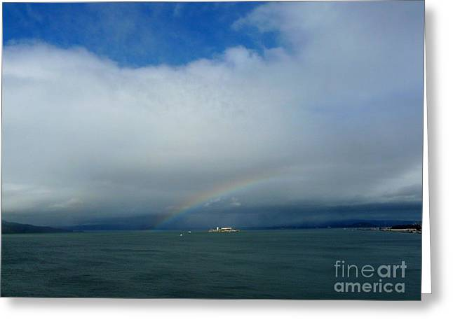 Alcatraz Greeting Cards - Rainbow over Alcatraz Greeting Card by Avis  Noelle