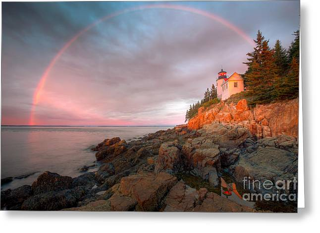Rocks. Tidal Pool Greeting Cards - Rainbow Over Bass Harbor Head Light I Greeting Card by Clarence Holmes