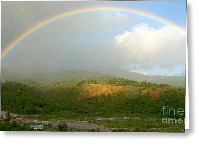 Cultivation Greeting Cards - Rainbow over Boquete Greeting Card by Heiko Koehrer-Wagner