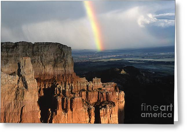 Sun Break Greeting Cards - Rainbow Over  Bryce Canyon Greeting Card by Sandra Bronstein