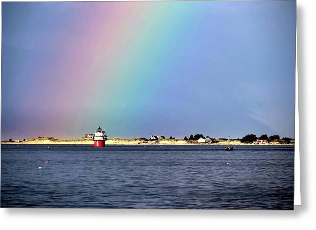 Rainbow Over Bug Light Greeting Card by Janice Drew