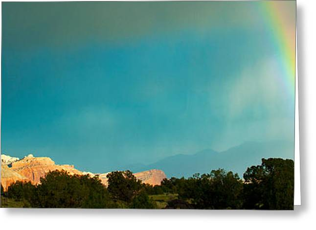 Capitol Greeting Cards - Rainbow Over Capitol Reef National Greeting Card by Panoramic Images