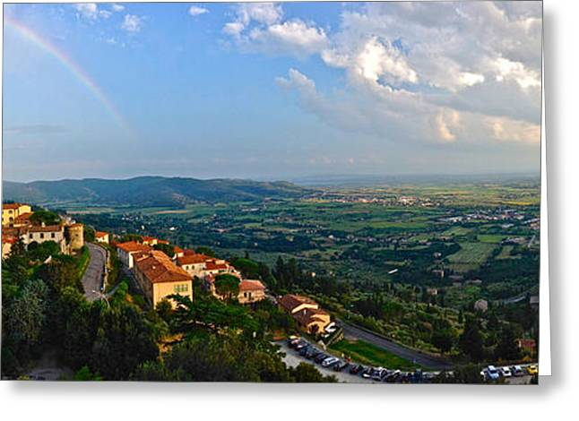 Tuscan Sunset Greeting Cards - Rainbow over Cortona Greeting Card by Alexi Hoeft