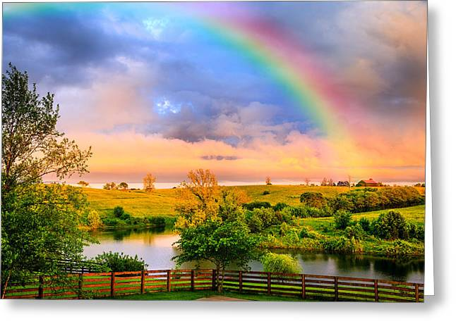 Bluegrass Greeting Cards - Rainbow over countryside Greeting Card by Alexey Stiop