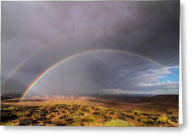Adventure Greeting Cards - Rainbow Over Desert Greeting Card by Michael J Bauer
