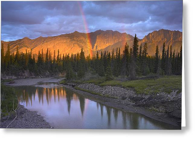 Rainbow Over Fairholme Range And Exshaw Greeting Card by Tim Fitzharris