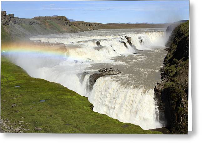 Rainbow River Greeting Cards - Rainbow Over Gullfoss Waterfall Iceland Greeting Card by Duncan Usher