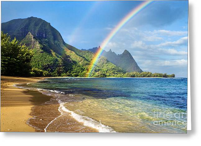 Seascape Art Greeting Cards - Rainbow over Haena Beach Greeting Card by M Swiet Productions