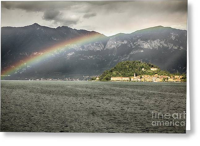 Colorful Cloud Formations Greeting Cards - Rainbow Over Lake Como Greeting Card by George Oze