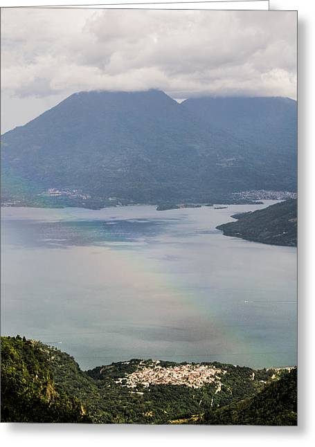 Lakers Greeting Cards - Rainbow Over Lakes and Mountains Greeting Card by Shelby  Young