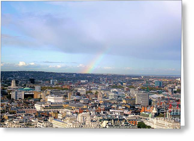 Rainbow Canvas Greeting Cards - Rainbow over London Greeting Card by Melissa Petrey