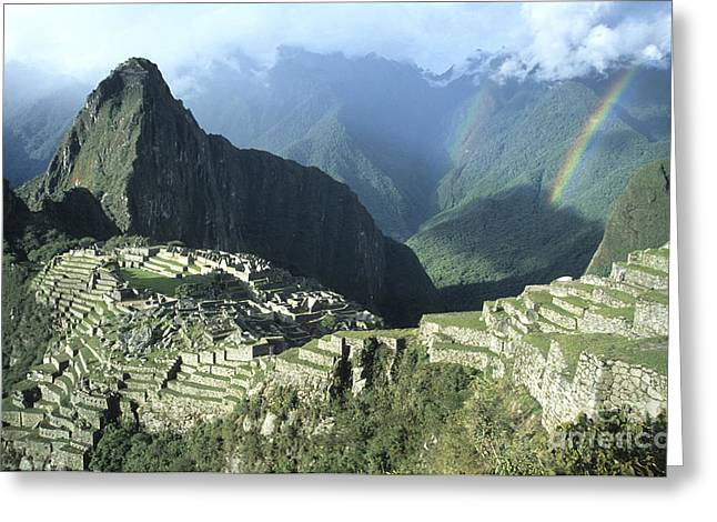 James Brunker Greeting Cards - Rainbow over Machu Picchu Greeting Card by James Brunker