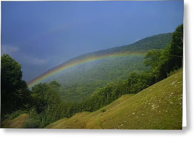 Landscape Posters Digital Greeting Cards - rainbow over Maggie valley Greeting Card by Chris Flees