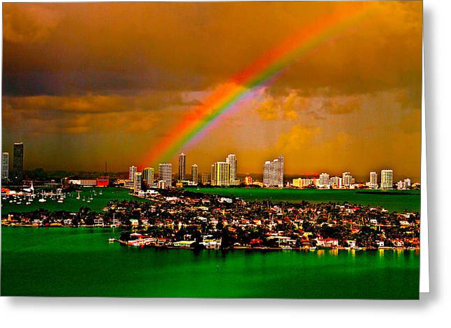 Take Over Greeting Cards - Rainbow over Miami Florida Greeting Card by Ronald  Bell
