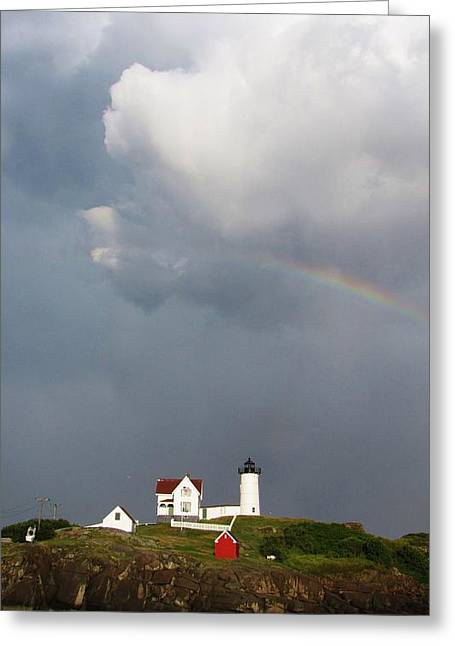 Cape Neddick Lighthouse Greeting Cards - Rainbow Over Nubble Greeting Card by Michael Saunders