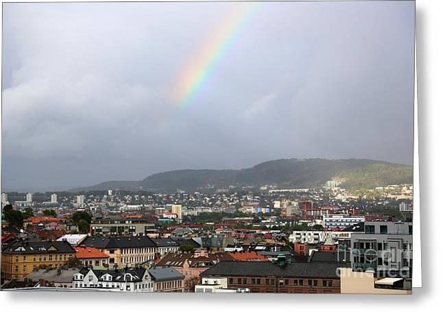 Rainbow Over Oslo Greeting Card by Carol Groenen
