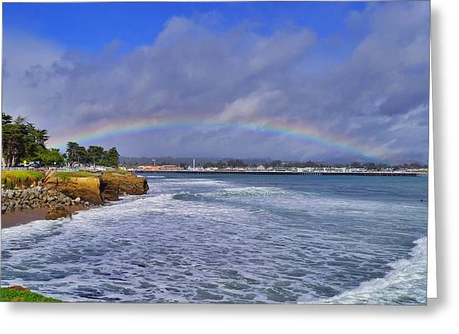 Steamer Lane Greeting Cards - Rainbow Over Santa Cruz Greeting Card by Randy Straka