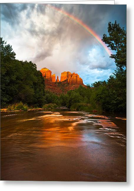 Red Rock Crossing Photographs Greeting Cards - Rainbow over Sedona Greeting Card by Adam Schallau