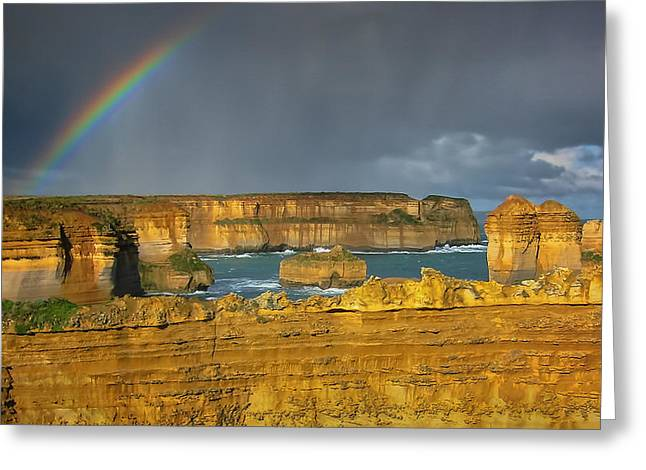 Sea View Greeting Cards - Rainbow over Southern Ocean Greeting Card by Joan Carroll