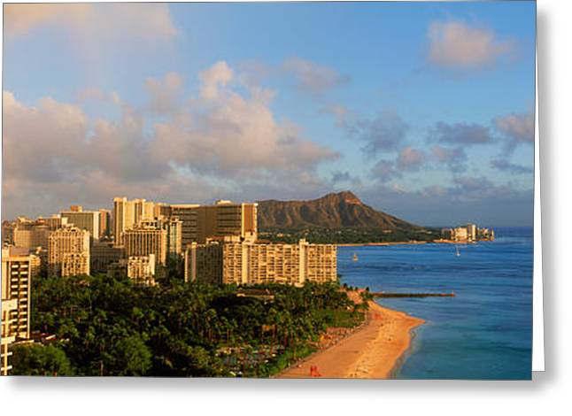 Rainbow Over The Beach, Diamond Head Greeting Card by Panoramic Images