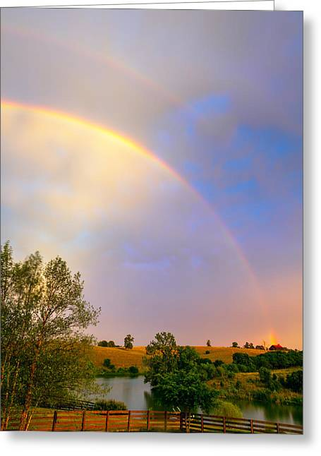 Double Rainbow Greeting Cards - Rainbow over the farm Greeting Card by Alexey Stiop