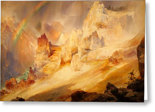 Clouds Over Canyon Greeting Cards - Rainbow over the Grand Canyon of the Yellowstone Greeting Card by Thomas Moran