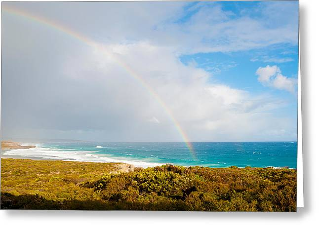 Ocean Images Greeting Cards - Rainbow Over The Pacific Ocean, South Greeting Card by Panoramic Images