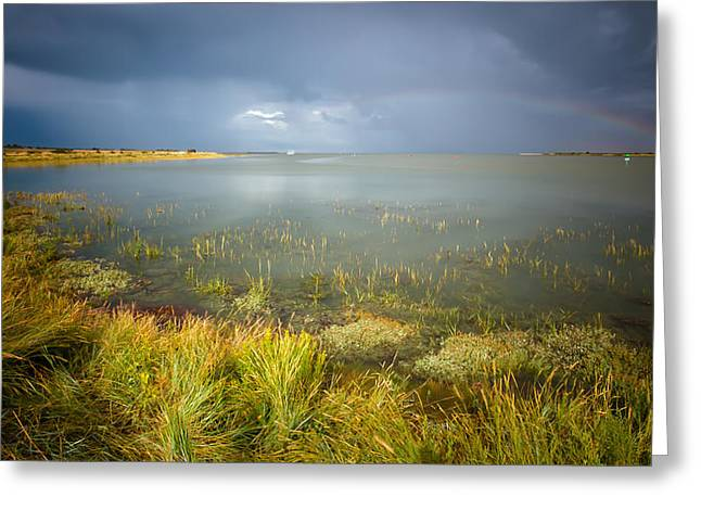 Estuary Greeting Cards - Rainbow over the Swale Greeting Card by Ian Hufton