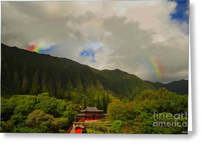 Reception Greeting Cards - Rainbow over the Temple Greeting Card by Cheryl Young