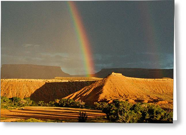 Geobob Greeting Cards - Rainbow over the Virgin River and Gooseberry Mesa near Virgin Utah Greeting Card by Robert Ford
