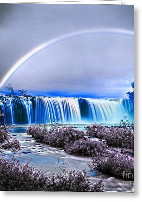Adam Mixed Media Greeting Cards - Rainbow over the waterfall  Greeting Card by Adam Asar