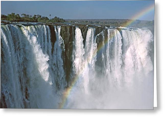 Zimbabwe Photographs Greeting Cards - Rainbow Over Victoria Falls, Zimbabwe Greeting Card by Panoramic Images