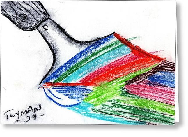 Bright Pastels Greeting Cards - Rainbow PaintBrush Greeting Card by Dan Twyman