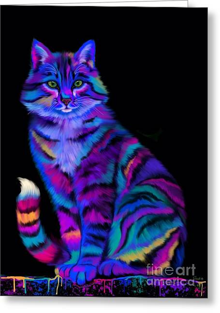 Rainbow Fantasy Art Greeting Cards - Rainbow Painted Tiger Cat Greeting Card by Nick Gustafson