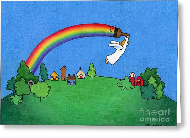 Unique Art Drawings Greeting Cards - Rainbow Painter Greeting Card by Sarah Batalka