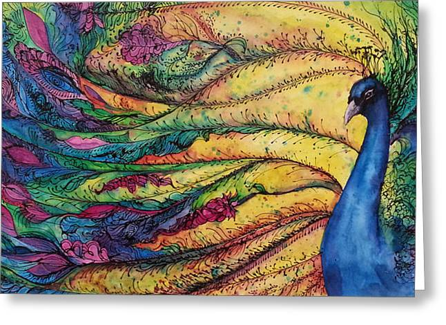 Victorian Greeting Cards - Rainbow Peacock Greeting Card by Christy  Freeman