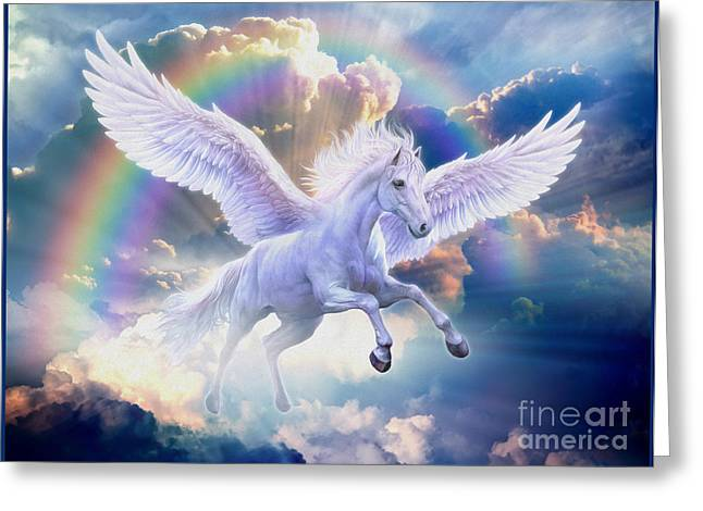 Amazing Digital Art Greeting Cards - Rainbow Pegasus Greeting Card by Jan Patrik Krasny