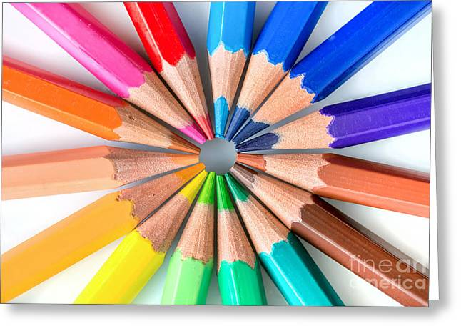 Rainbow Pencils Greeting Card by Delphimages Photo Creations