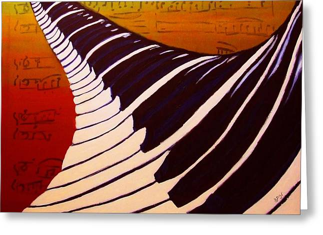 White Chopin Greeting Cards - Rainbow Piano Keyboard Twist in Acrylic Paint with Sheet Music Notes in Blue Yellow Orange Red Greeting Card by M Zimmerman MendyZ