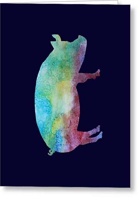 Piglets Greeting Cards - Rainbow Pig Greeting Card by Jenny Armitage