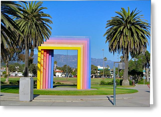 Rectangles Greeting Cards - Rainbow Portal Greeting Card by Denise Mazzocco