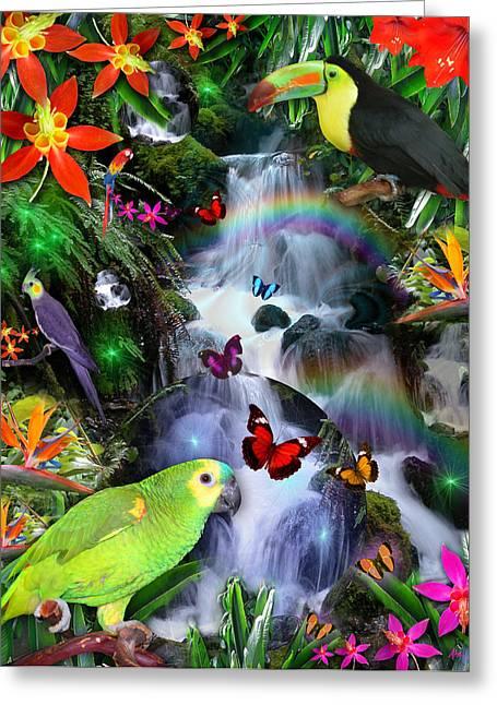 Fantasy Animal Greeting Cards - Rainbow Rainforest Greeting Card by Alixandra Mullins